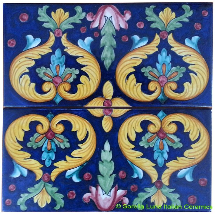 Hand painted Italian Ceramic Tiles - Acanthus Hearts