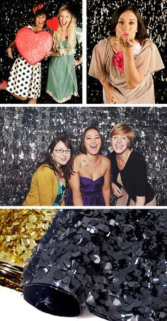 Sparkly floral sheeting as a glamourous red carpet backdrop for a photobooth at any party or event