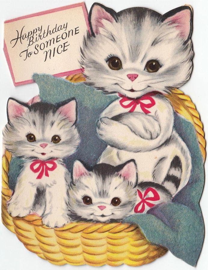 Vintage Cat Family Birthday Greeting Card