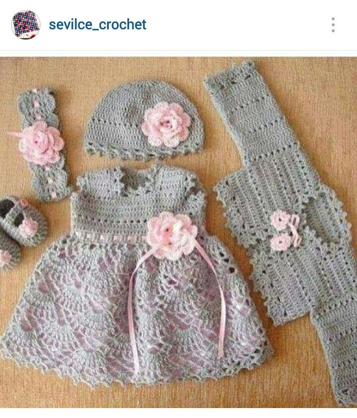 Instagram @sevilce_crochet - crochet baby girl dress/cardi; hat, headband & booties