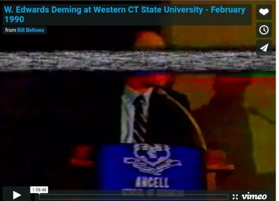 Video of W. Edwards Deming at Western Connecticut State University in 1990 #Dr.Deming  #psychology  #respectforpeople  #systemsthinking  #video  #motivation  #organizationasasystem  #performanceappraisal  #webcasts