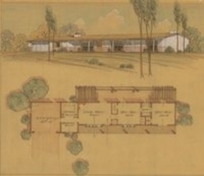 Beautiful Floor Plan And Perspective, Cliff May San Diego Ranch House, 1950s