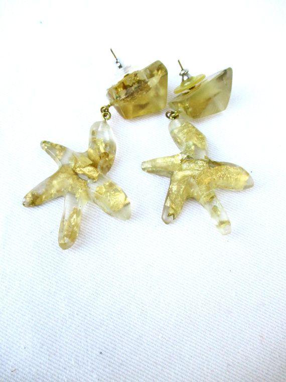 Vintage Earrings Starfish Jewelry Earrings 1980  80s earrings 1980 Large Dangle Nautical Gold Leaves Resin