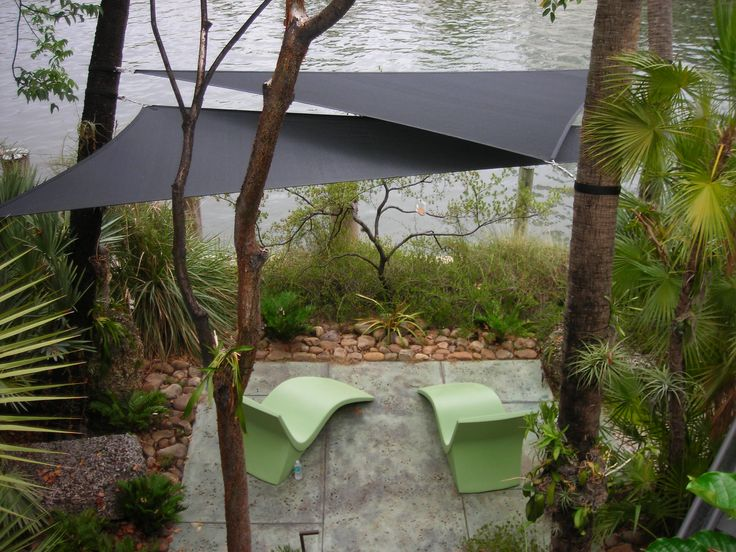Shade Sails Connected To Trees Fabric Creations