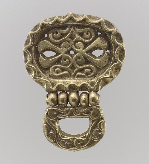 Gold Belt Mount with Loop  Date:700s Culture:Avar Medium:Gold, cast.-The…