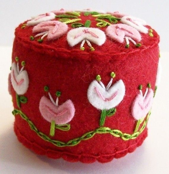 Folk Art Pincushion in Red
