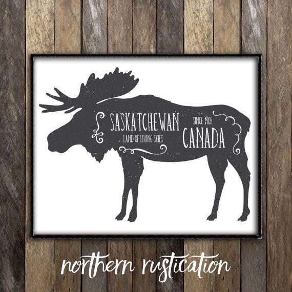Saskatchewan Moose Decor   Moose Art by NorthernRustication