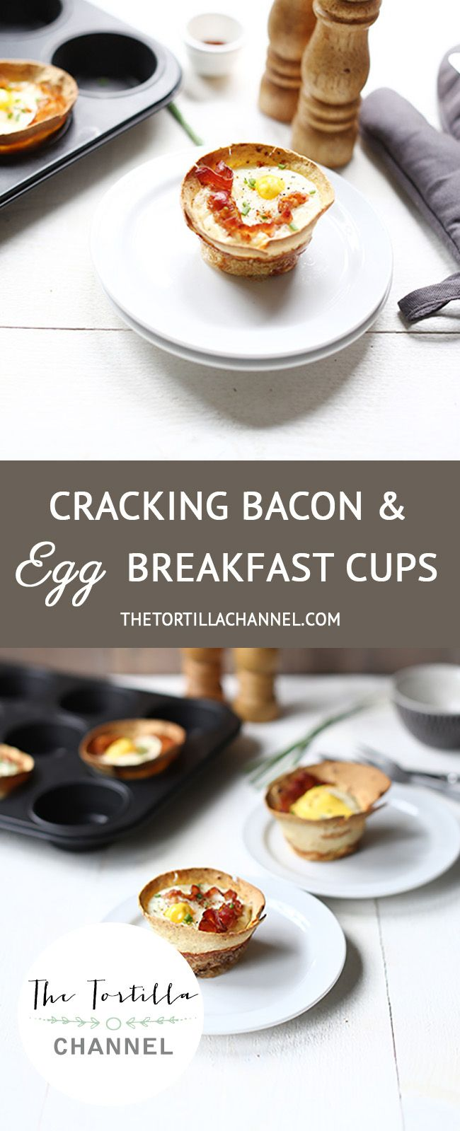 We are making cracking bacon and egg breakfast tortilla cups. You need 3 ingredients tortilla, bacon and eggs. The oven will do the rest. #healthy #thetortillachannel