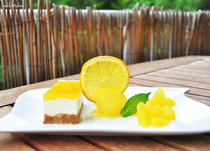 Passionfruit Cheesecake mit Orangensorbet