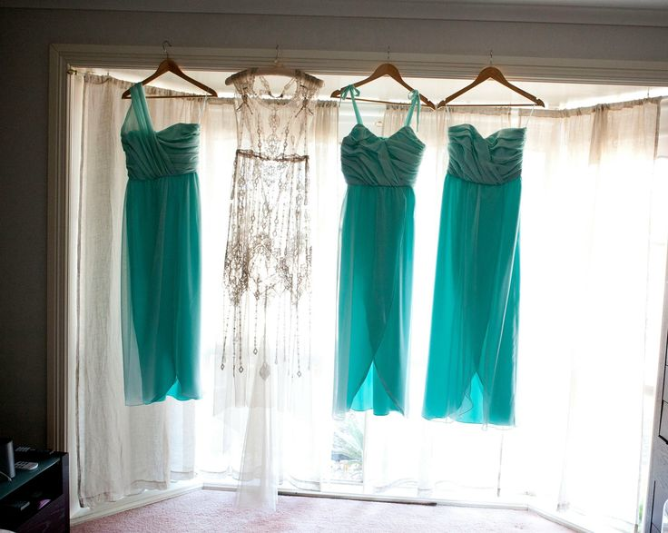Sea foam, wedding, Gatsby, Art Deco, mint, bridesmaids, various bridesmaids dresses in same colour, Aqua