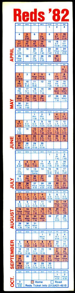 1982 CINCINNATI REDS UNPUNCHED BLANK BACK BASEBALL SCHEDULE EX+NM FREE SHIPPING #Schedule