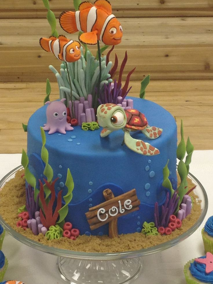 Any sort of finding nemo/dory cake :)  Even a farm fresh one would be fine! Almond flavor with buttercream frosting if possible.  If not- vanilla/white with buttercream frosting or any other white frosting besides whipped if possible