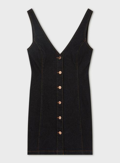 0bb5b2a6ea0 Black Denim V-Neck Button Through Pinafore Dress