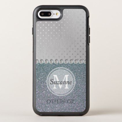 Silver Glitter Polka Dots Monogram Personalized OtterBox Symmetry iPhone 8 Plus/7 Plus Case - monogram gifts unique design style monogrammed diy cyo customize #SilverGlitter