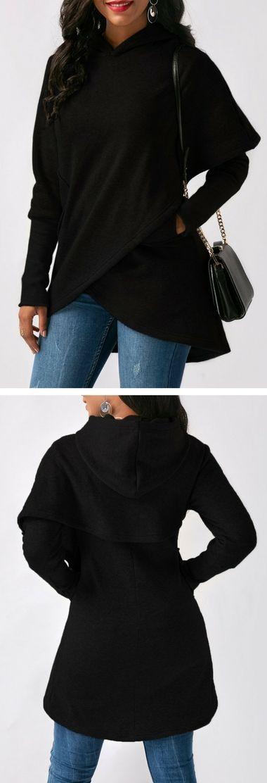 Asymmetric Hem Long Sleeve Black Pocket Hoodie.