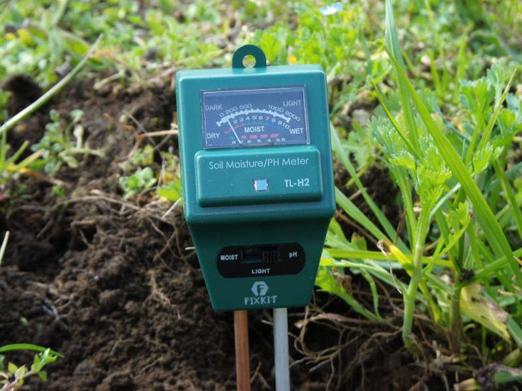 Photographs of a soil tester planted in the ground. PH tester for soil running during a test.