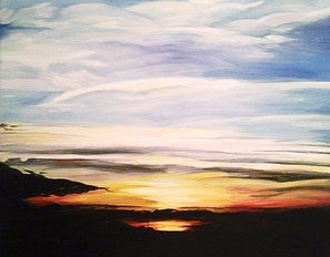 Bits and Pieces - Sunset, Acrylic painting on canvas