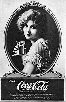 Coca-Cola ad, probably Marion Davies, silent screen star, lover of William Randolph Hearst