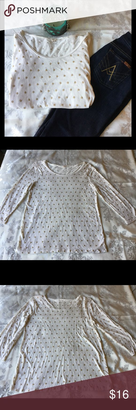 """J Crew white and gold polka dot shirt J Crew white shirt with gold polka dots, 60% cotton, 40% modal. Sleeve length 19 1/2"""". Used good condition. J. Crew Tops Tees - Long Sleeve"""