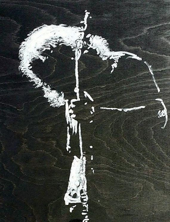 CUSTOM Jerry Garcia Art Original Portrait Painting 16x20 Grateful Dead Art Pop Art Painting Wood Art Black and White Art