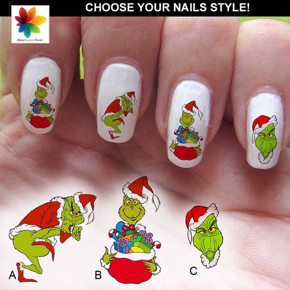 Christmas Finger Nail Art: Grinch Versus Christmas, GRINCH Nail Decals, Christmas
