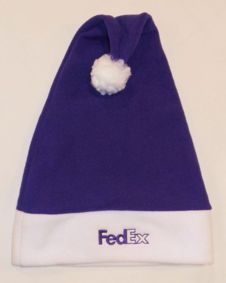 FedEx Express Delivery Stocking Cap Santa Hat Logo One Size Purple White Holiday #FedEx #FedExExpress #FedExHoliday #FedExHat