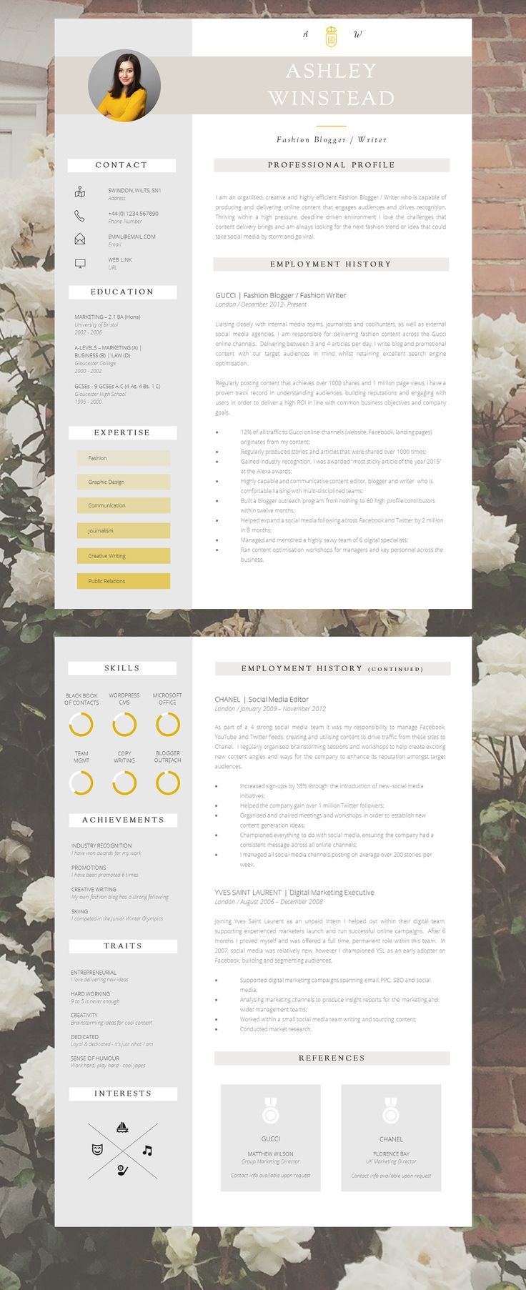 Resume Template | Creative Resume Template | Two Page Professional Resume +  Cover Letter U0026 Advice | Printable Word Resume | The   Creative Resume Layouts