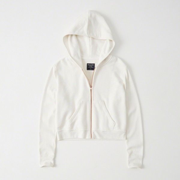 Abercrombie & Fitch Cropped Zip-Up Hoodie ($58) ❤ liked on Polyvore featuring tops, hoodies, white, zip up hoodies, white zipper hoodie, white crop tops, white hoodie and white zip up hoodie