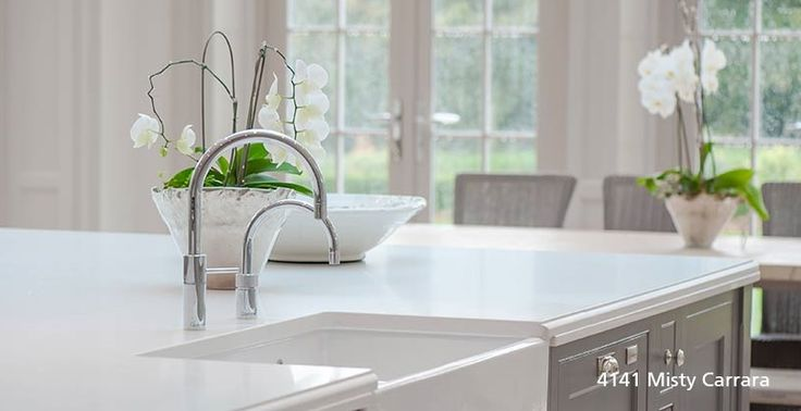 A fresh and sunny kitchen waiting for someone to prepare delicious spring-inspired meals! #MistyCarrara #Spring