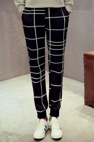 Irregular Plaid Print Rib Cuffs Color Block Narrow Feet Slimming Elastic Waist Men's Jogger Pants