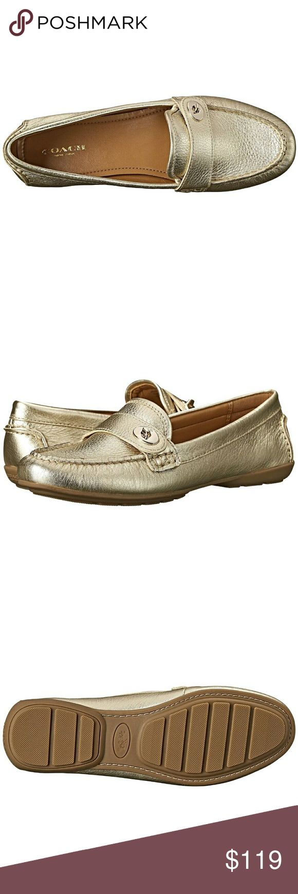 "Coach Gold ""Flash"" Turnlock Driving Loafers NWOB. GOLD. SIZE 8. Did not come with actual tags, but these are new, never worn.  Details in last photo.   Selling because I recieved these as a gift but they were not the ones I had wanted. I just purchased the ones I wanted in gold and therefore don't want 2 of the same color!  ****I DO NOT TRADE****PLEASE DO NOT ASK!!!  Retails $169 but currently ""Sold out"" of this size/color. Coach Shoes Flats & Loafers"