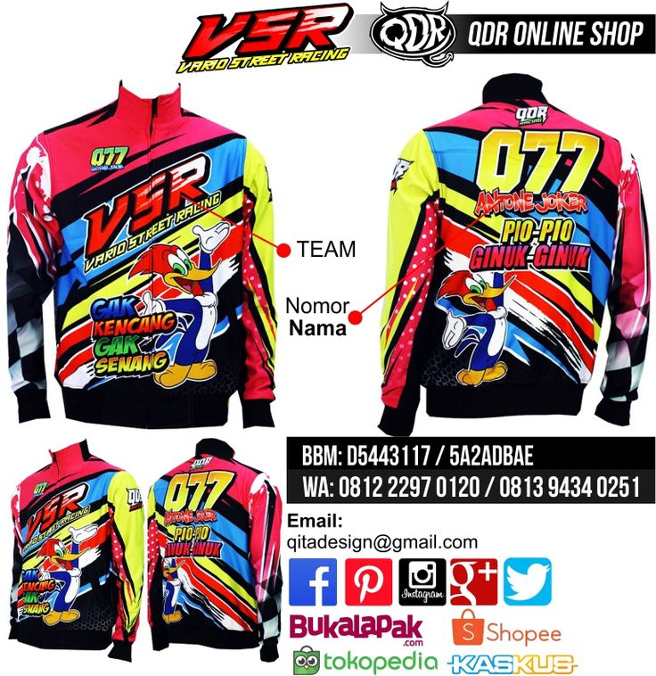 Jaket Motor Racing (VSR) Bahan: Lotto / Puma printing: sublimasi untuk pemesanan: BBM D5443117 / 5A2ADBAE (Qdr online shop) WA/LINE 081222970120 / 08129434025