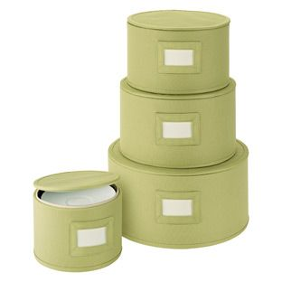 """With their textured fabric, our set of fourl Round Plate Storage Cases are as chic as they are protective. Every case is structured for added durability and each is so well constructed that you can stack them to save space without worry. A contrasting lining completes the picture. Our set includes storage for plates up to 11"""", 9"""", 7-1/2"""" and 5-1/2"""" in diameter."""