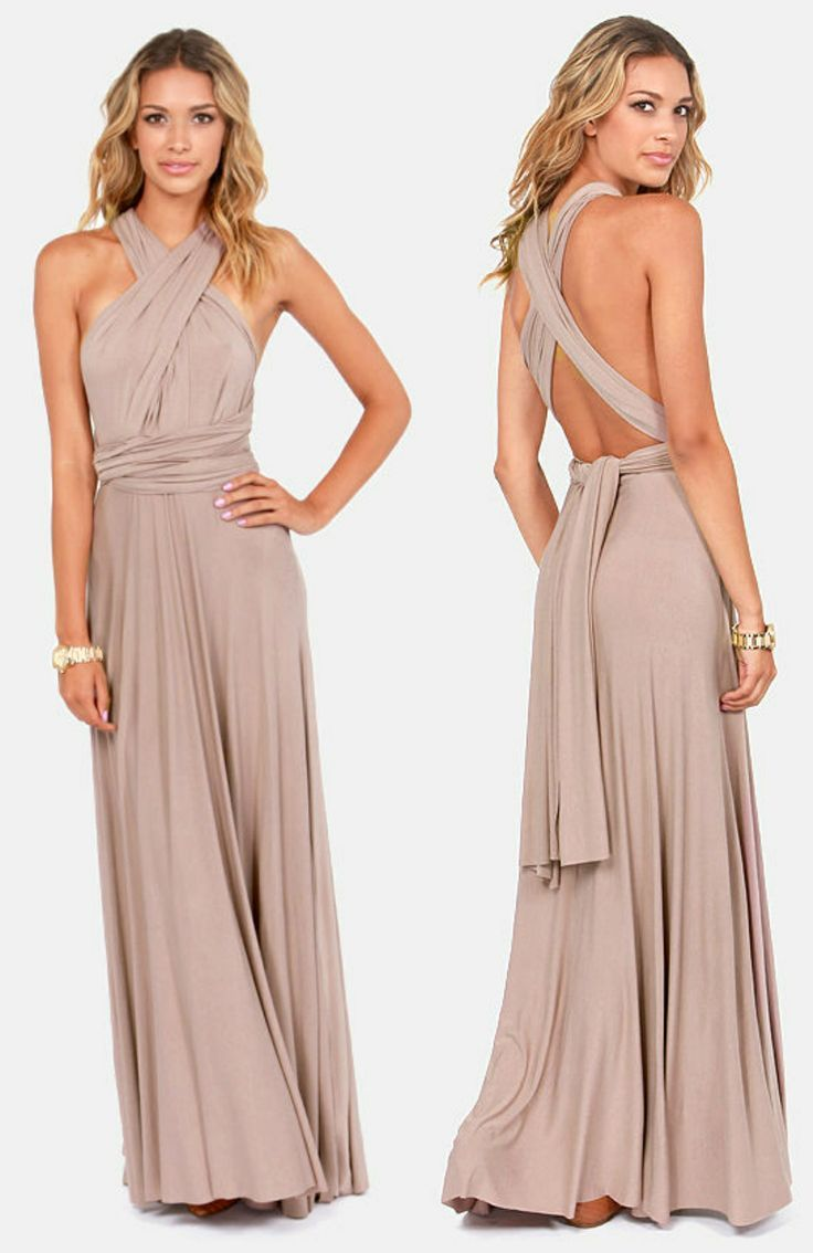 Lulus Tricks Of The Trade Taupe Maxi Dress Size Large