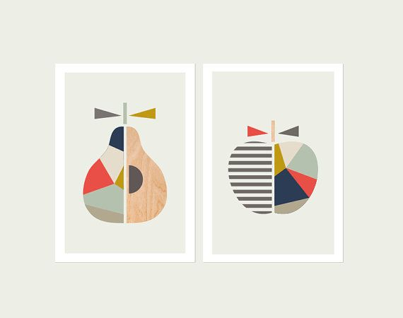 Geometric Apple and Pear Navy & Coral Series of two.  Scandinavian, Geometric Art, Pear print, Apple print, Modern nursery art.
