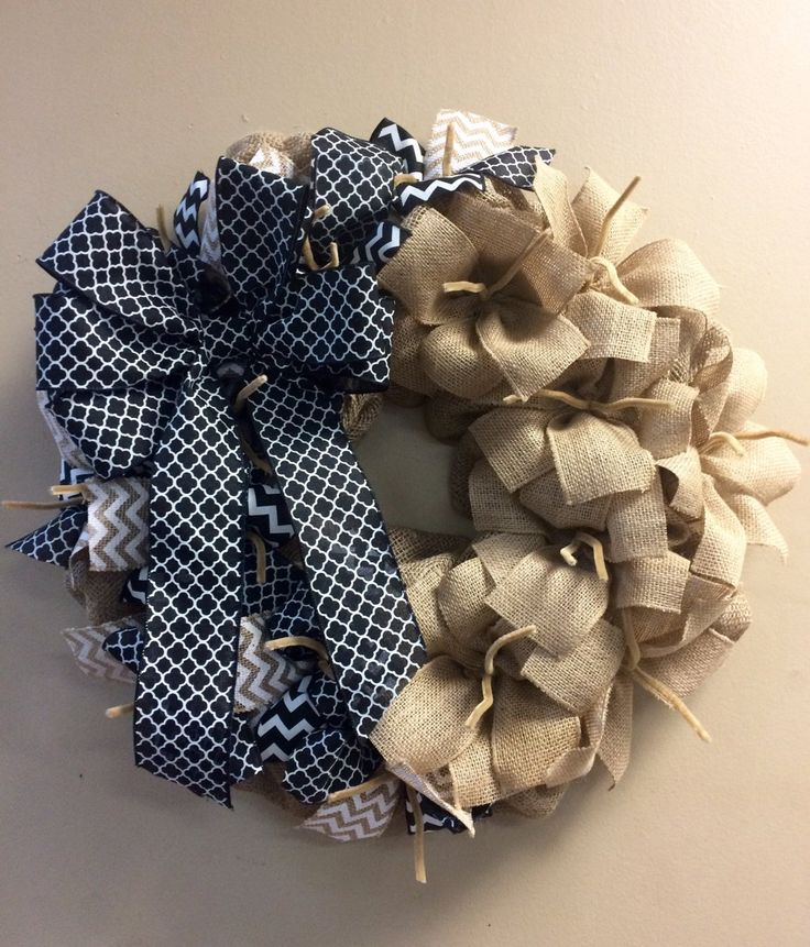 Wreath it! Burlap Wreath Black White Natural - Made with out patent pending Wreath it! base