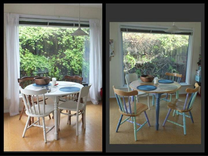 Hours of sanding to modernise an old dining room set