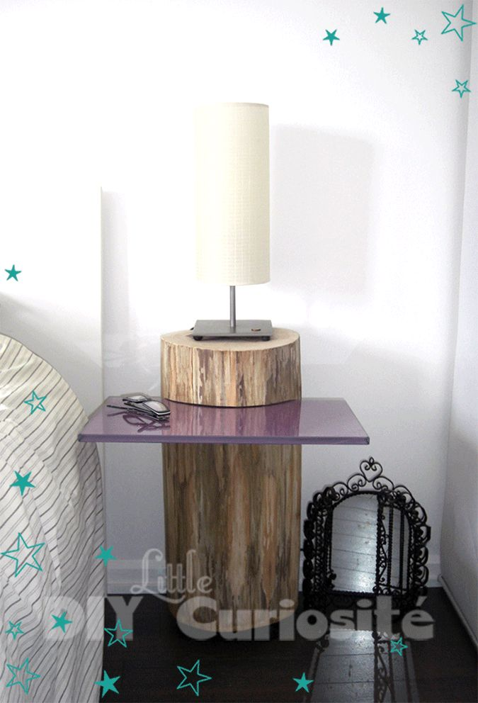 Table de chevet Tronc d'arbre & plaque de verre, récup', DIY