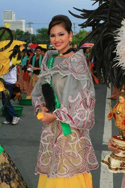traditional philippine dress baro at saya. baro is blouse and saya is skirt.