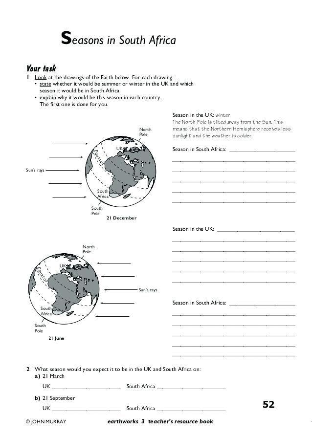 Reason For Seasons Worksheet Activities Seasons Worksheet Year 7