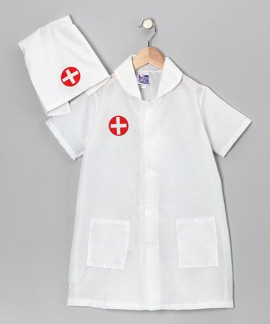 White Nurse Dress-Up Set [Toddler & Kids Sizes] When it's time to cure pretend diseases, this super set is up to the task. The jacket buttons easily in front while the matching hat tops off the look. Includes jacket and hat 100% Polyester. Hand Wash; Dry Flat $12.99-$14.49