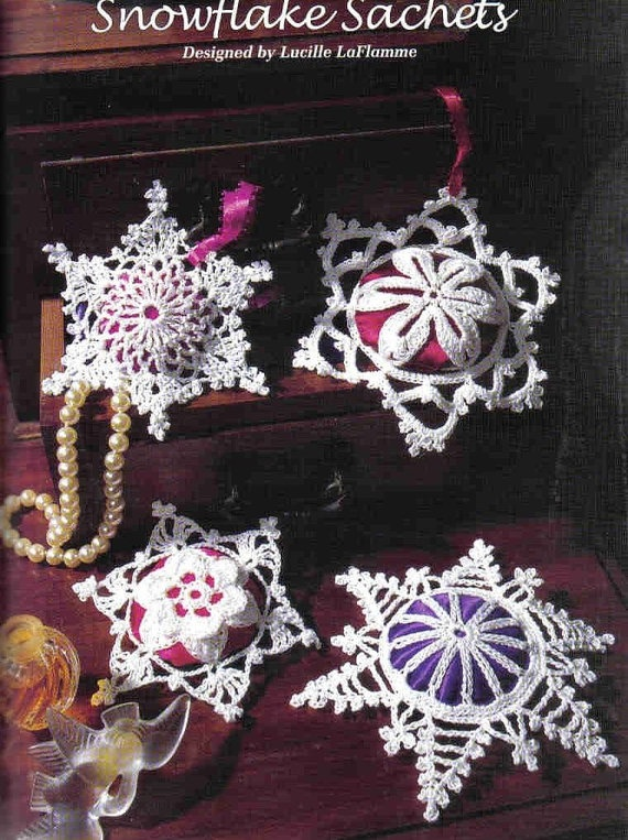 4 Snowflake Sachets Crochet Pattern eBook Christmas by AishaShop, $2.00