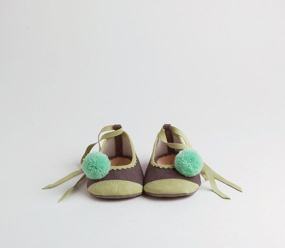 Linen and leather baby ballerina shoes