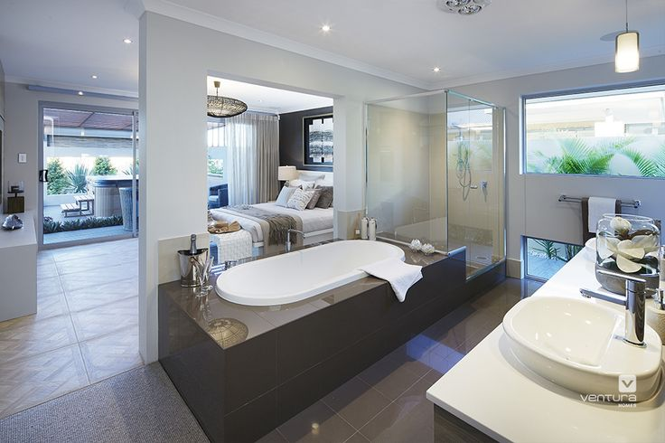 Master bedroom & ensuite design in 'The Sanctuary' display home by #VenturaHomes. #interiordesign