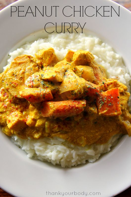 Tender chunks of chicken and vegetables, slow-cooked to perfection in a sauce of curry, peanut butter and coconut milk. Mmmm, peanut chicken curry!