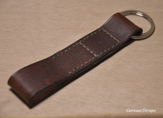 Handmade vintage leather keychain leather key fob by CentaurStraps