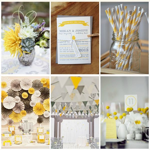 Id es d co mariage jaune blanc et gris style tables - Idees decoration bapteme fille ...