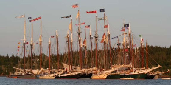 Schooner Gam by Richard Byrd from the deck of the  Maine Windjammer - Schooner J Riggin (www.MaineWindjammer.com)