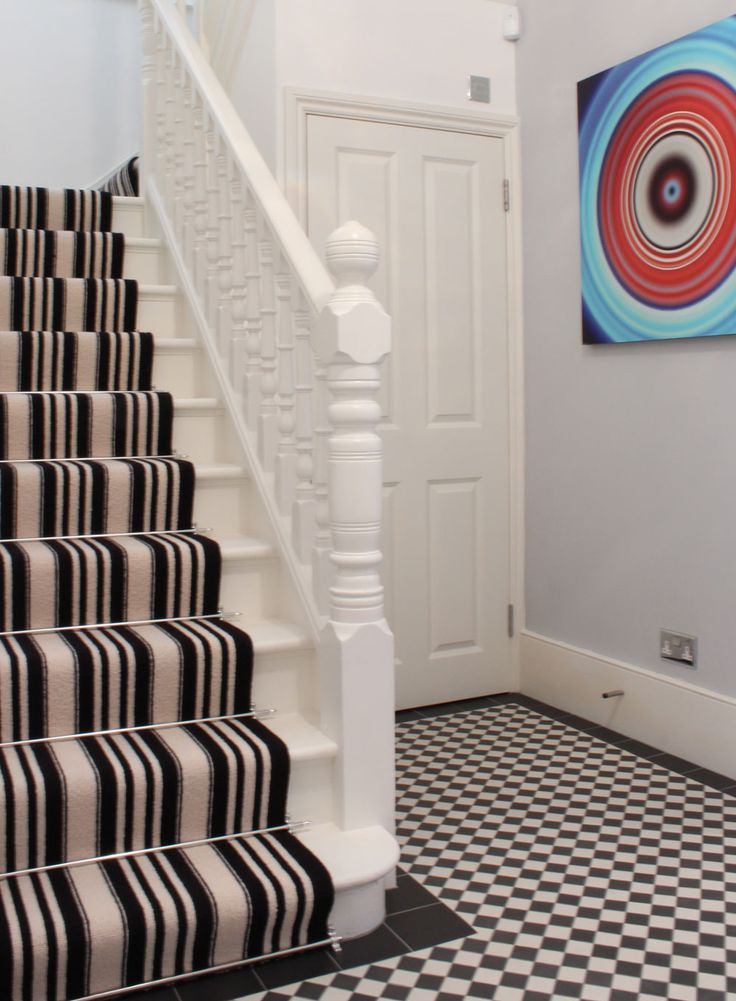 Superior Client: Private Residence In North West London Black U0026 White Stripe , Wool  Carpets On Stairs As Runner, With Stair Rods.