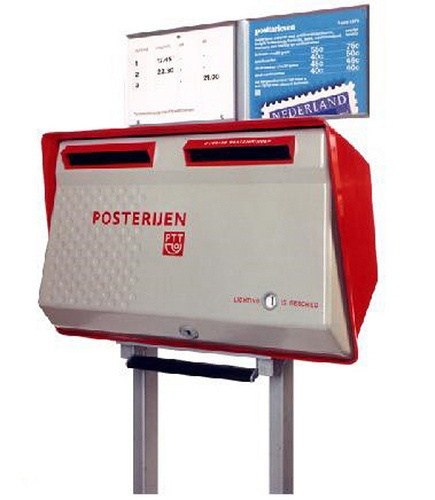 Dutch Mailbox from the 80s (Tweelingbrievenbus PTT rood-grijs)